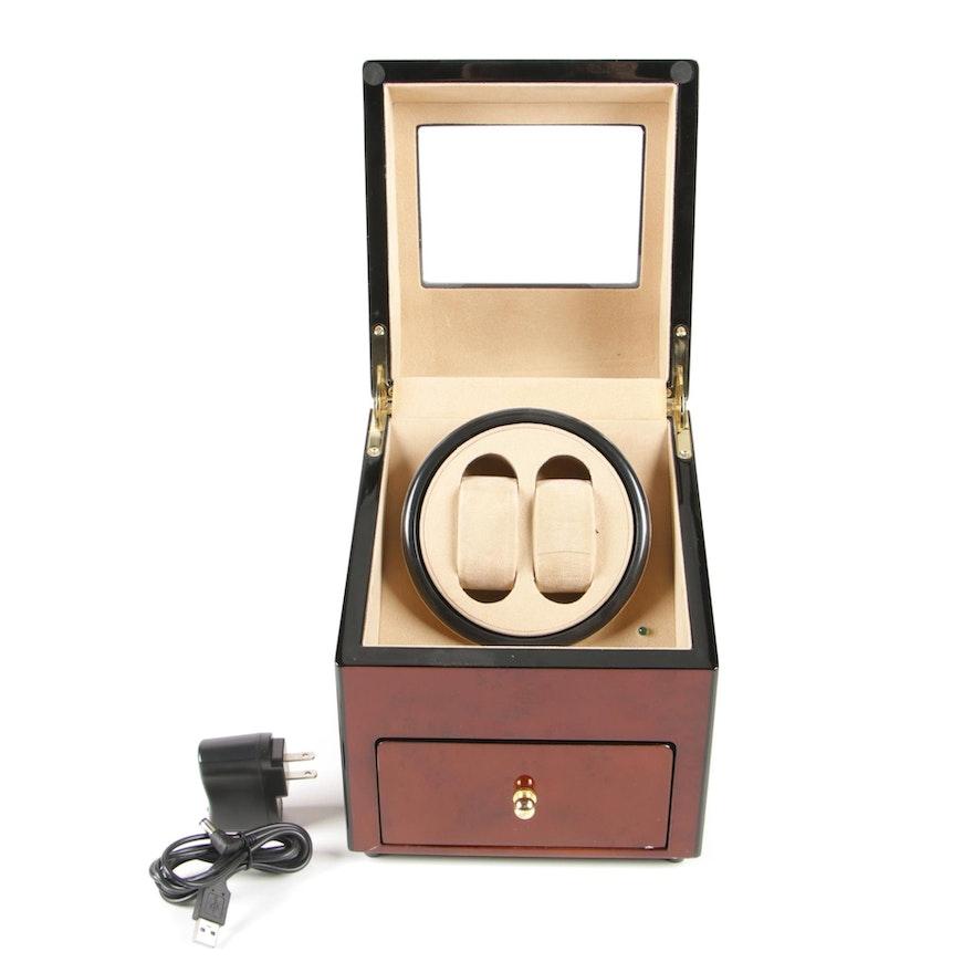 Rotations Dual Watch Winder with High Gloss Burl Wood Veneer Case