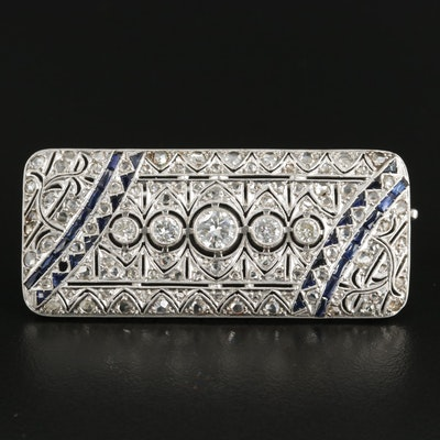 Edwardian Platinum 2.96 CTW Diamond and Sapphire Brooch