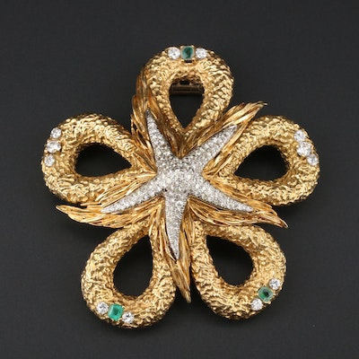 1960s 18K 3.38 CTW Diamond, Genuine and Imitation Emerald Starfish Brooch