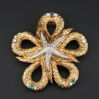 1960s 18K Yellow Gold 3.38 CTW Diamond and Emerald Starfish Brooch