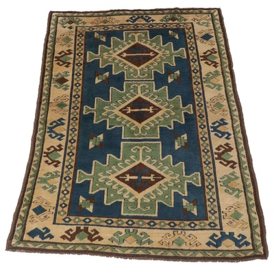 4'5 x 6'9 Hand-Knotted Turkish Caucasian Kazak Rug, Late 20th Century