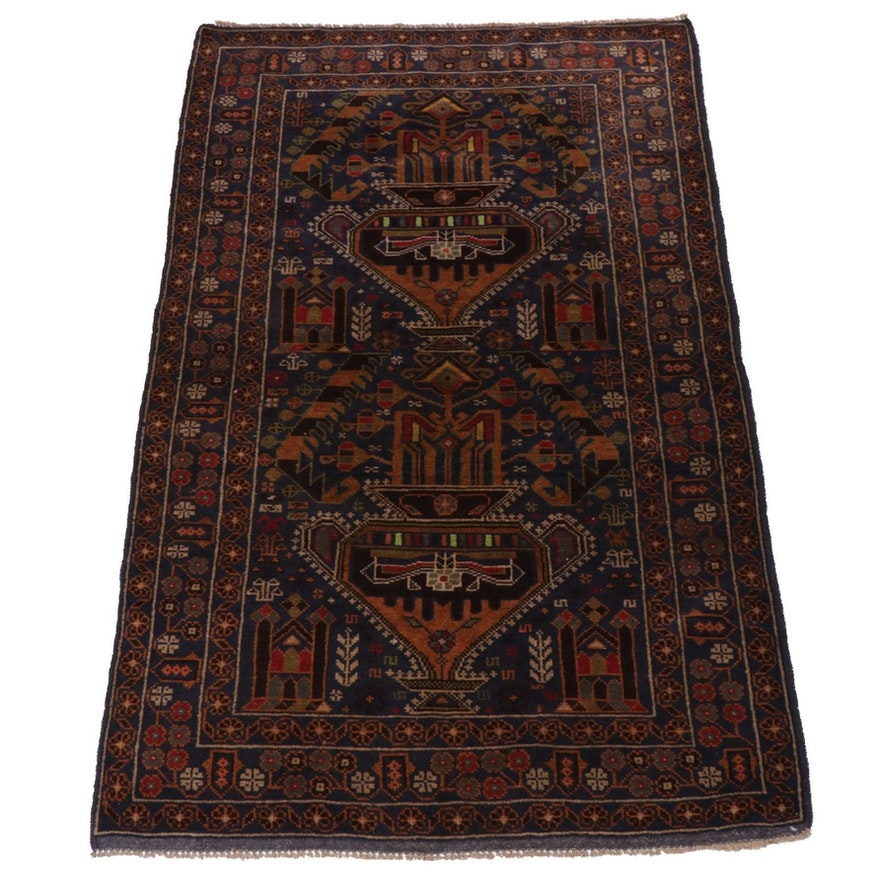 3'8 x 6'6 Hand-Knotted Persian Baluch Rug, Late 20th Century