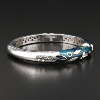 La Nouvelle Bague 18K White Gold Diamond and Enamel Bracelet