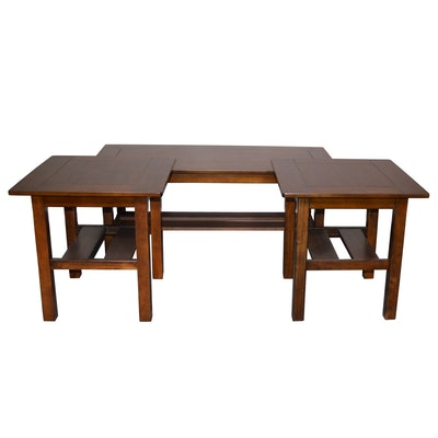 Ashley Furniture Walnut Stained End Tables and Coffee Table