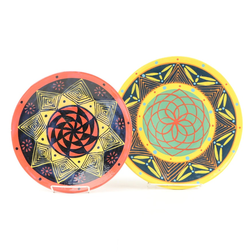 American Hand-Painted Art Pottery Decorative Chargers, 1997