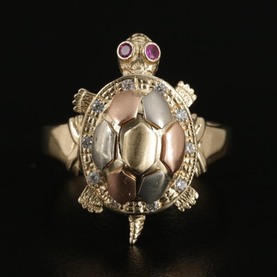 14K Gold Synthetic Ruby and Cubic Zirconia Articulated Turtle Ring