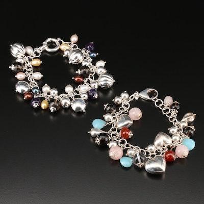 Sterling Silver Multi-Gemstone Fringe Bracelet Including Rose and Smoky Quartz