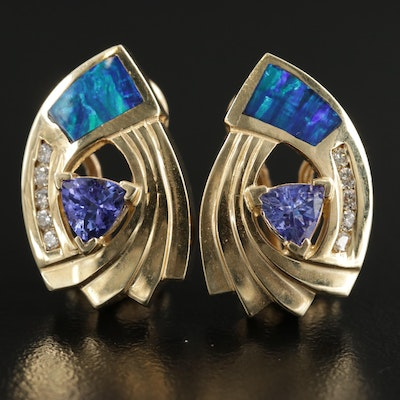 14K Yellow Gold Tanzanite, Diamond and Opal Clip-On Earrings