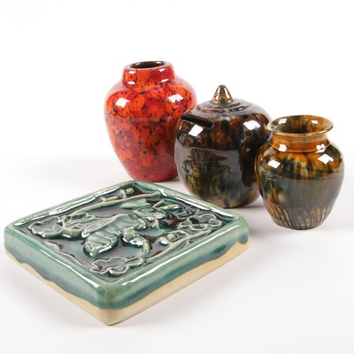 Scottish and West German Mottled Glaze Vases and Coin Bank with Bee Tile