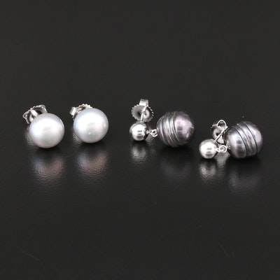 Honora Sterling Silver Pearl Stud and Dangle Earrings