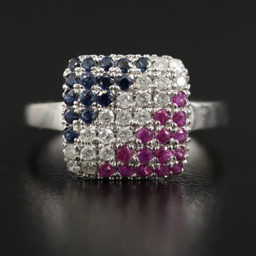14K White Gold Diamond, Ruby and Sapphire Ring