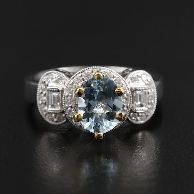 18K White Gold Aquamarine and Diamond Ring with Yellow Gold Accents