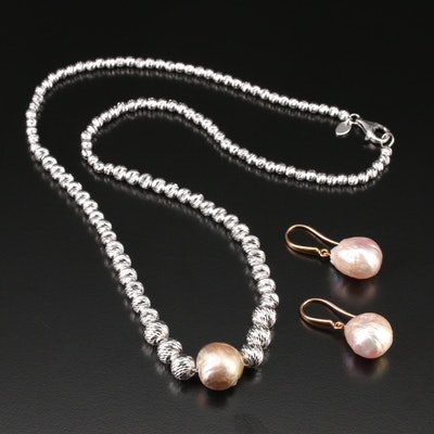 Honora Sterling Silver Pearl Graduated Bead Necklace and Earrings