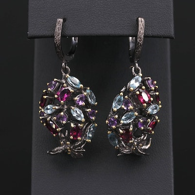 Sterling Silver Amethyst, Rhodolite and Topaz Insect Earrings