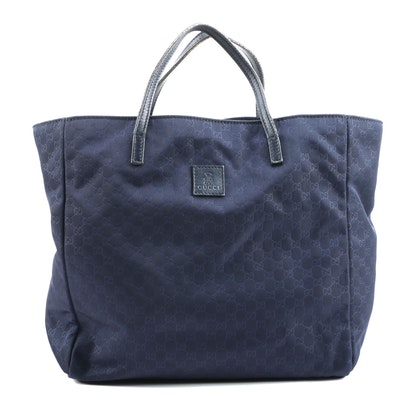 Gucci Children's Teddy Bear Tote in Navy Blue MicroGuccissima Fabric