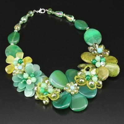 Green Gemstone Floral Bib Necklace Featuring Agate, Aventurine, and Prehnite