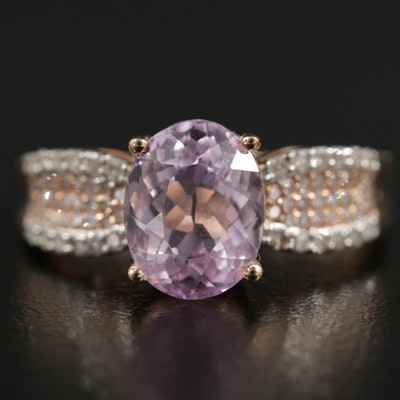10K Rose Gold Kunzite and Diamond Ring