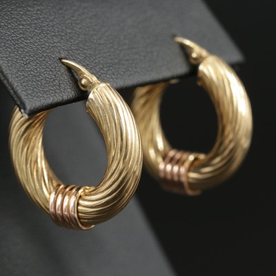 14K Yellow Gold Hoop Earrings with 14K Rose Gold Accents