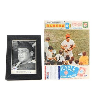 Pete Rose, Harvey Haddix Signed 1969 Score Card And Kluszewki Signed Photo PSA