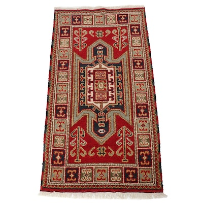2'2 x 4'3 Hand-Knotted Indo-Persian Caucasian Kazak Rug, 2010s