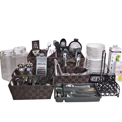 Kitchen Starter Set with Gibson Ceramic Dinnerware, Other Utensils and More