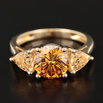 10K Yellow Gold Strontium Titanate and Citrine Ring