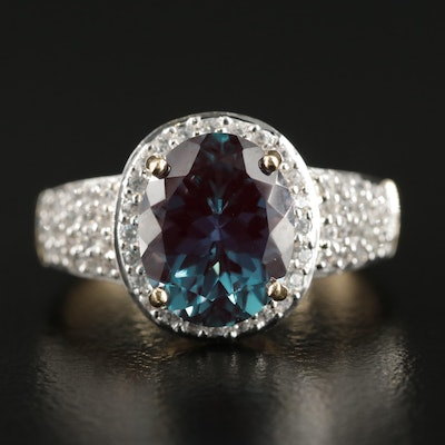 14K Yellow Gold Synthetic Alexandrite and White Zircon Ring
