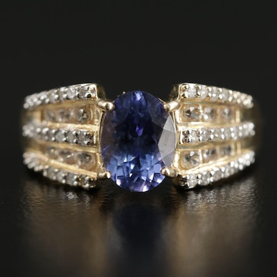10K Yellow Gold Tanzanite, Diamond and White Spinel Ring