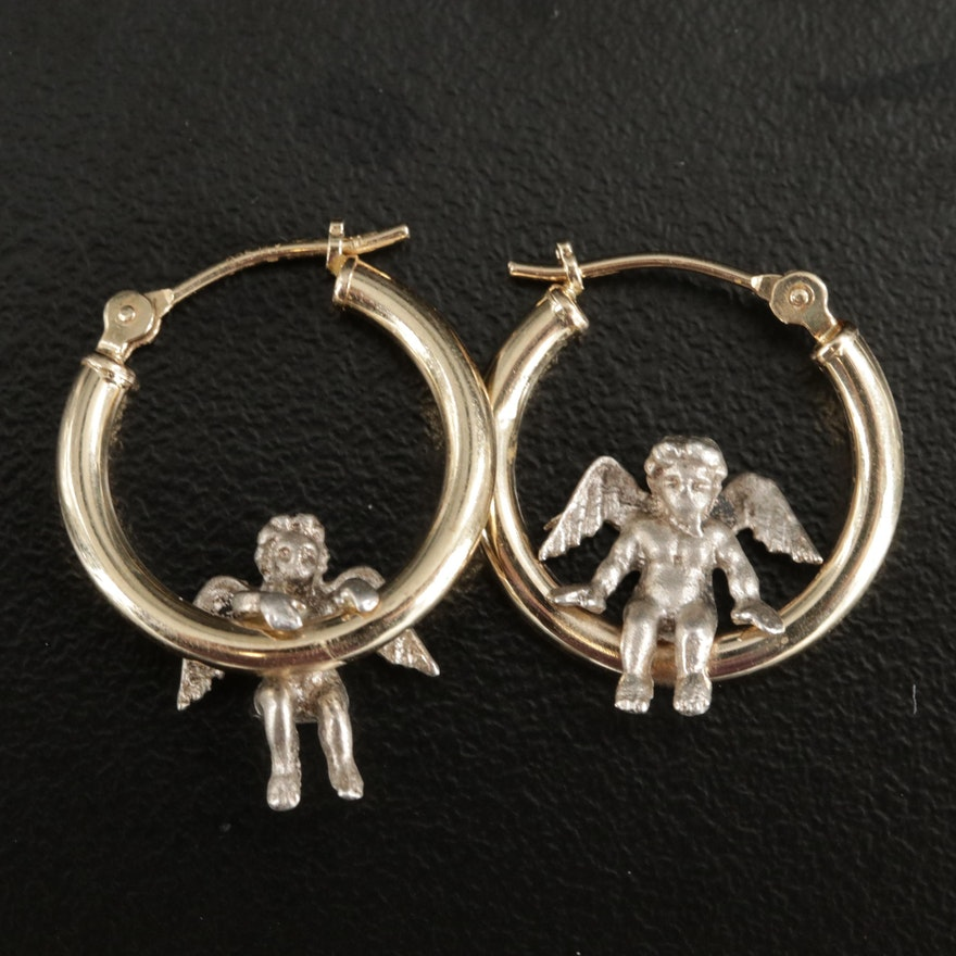 14K White Gold and Sterling Silver Angel Hoop Earrings