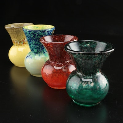 Strathearn Mottled Art Glass Thistle Vases, Late 20th Century