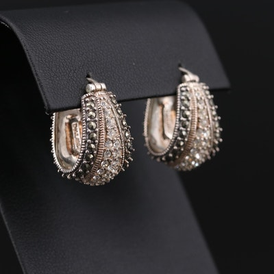 Sterling Silver Rhinestone and Marcasite Hoop Earrings