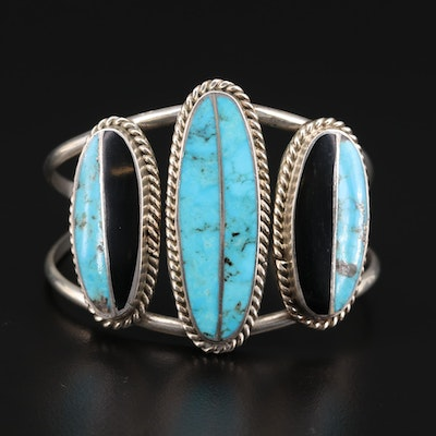Norman Lee Navajo Diné Sterling Turquoise Cuff Bracelet
