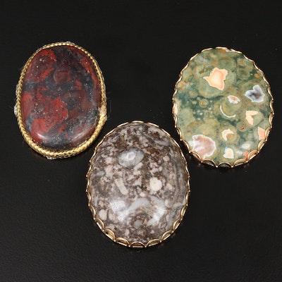 Selection of Framed Jasper Gemstones