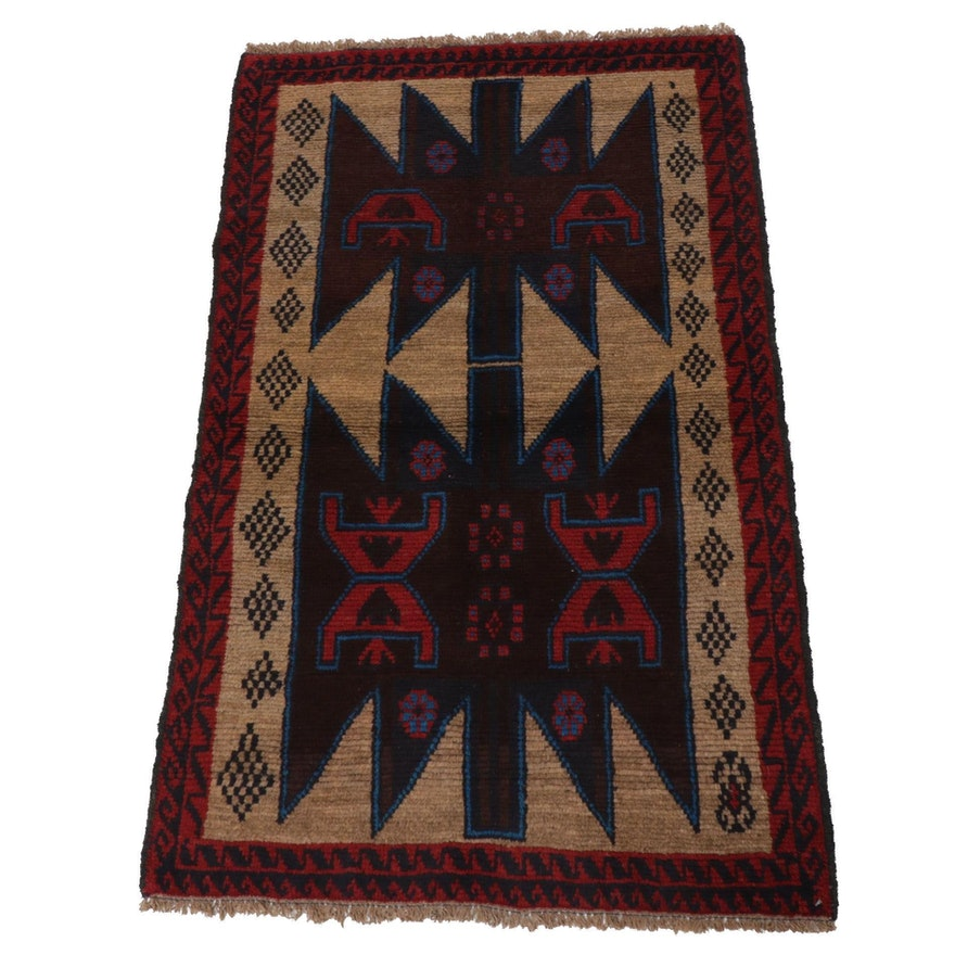 2'11 x 4'9 Hand-Knotted Afghani Turkoman Rug, 1990s