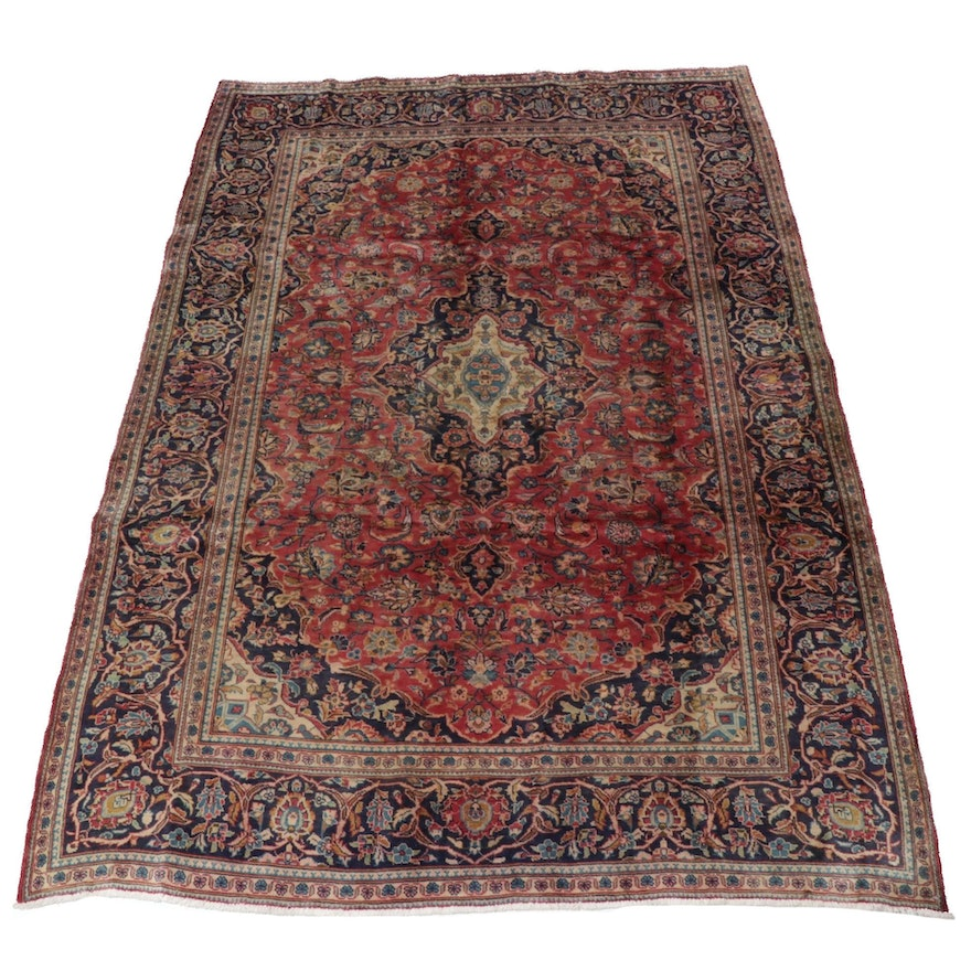 6'7 x 10'1 Hand-Knotted Persian Kashan Rug, 1970s