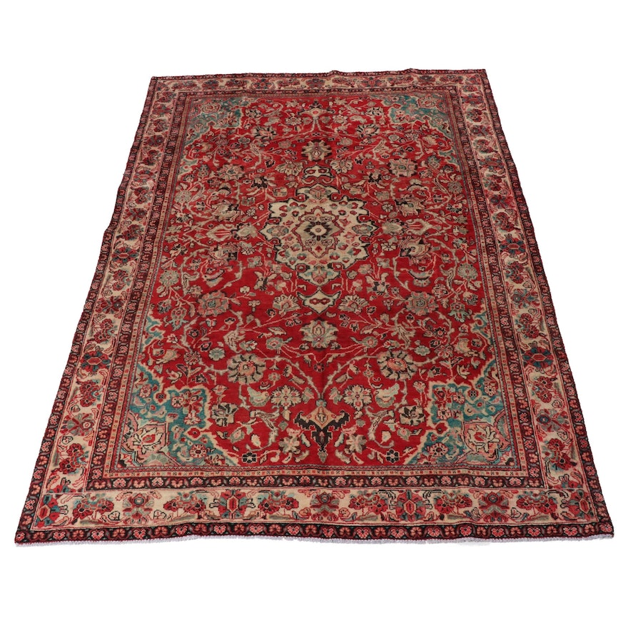 7'5 x 10'10 Hand-Knotted Persian Mahal Rug, 1950s
