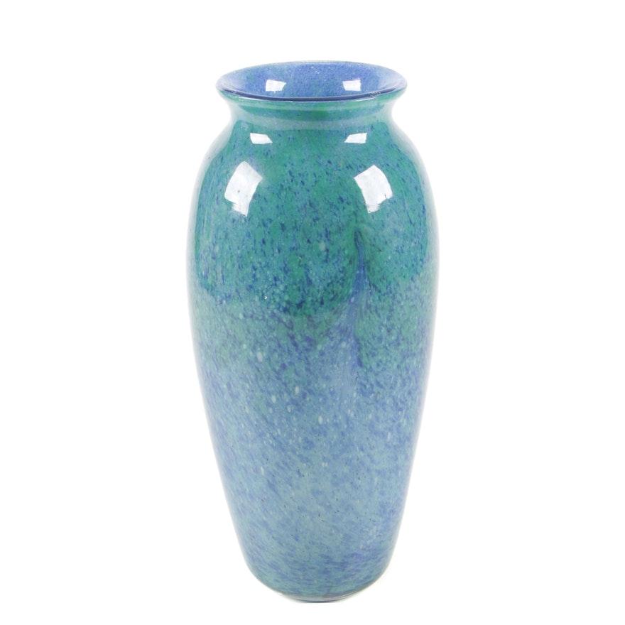 Monart Blue and Green Art Glass Vase, 20th Century