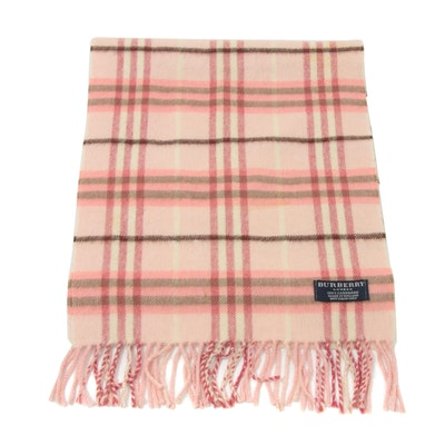 Burberry Cashmere Check Fringed Scarf