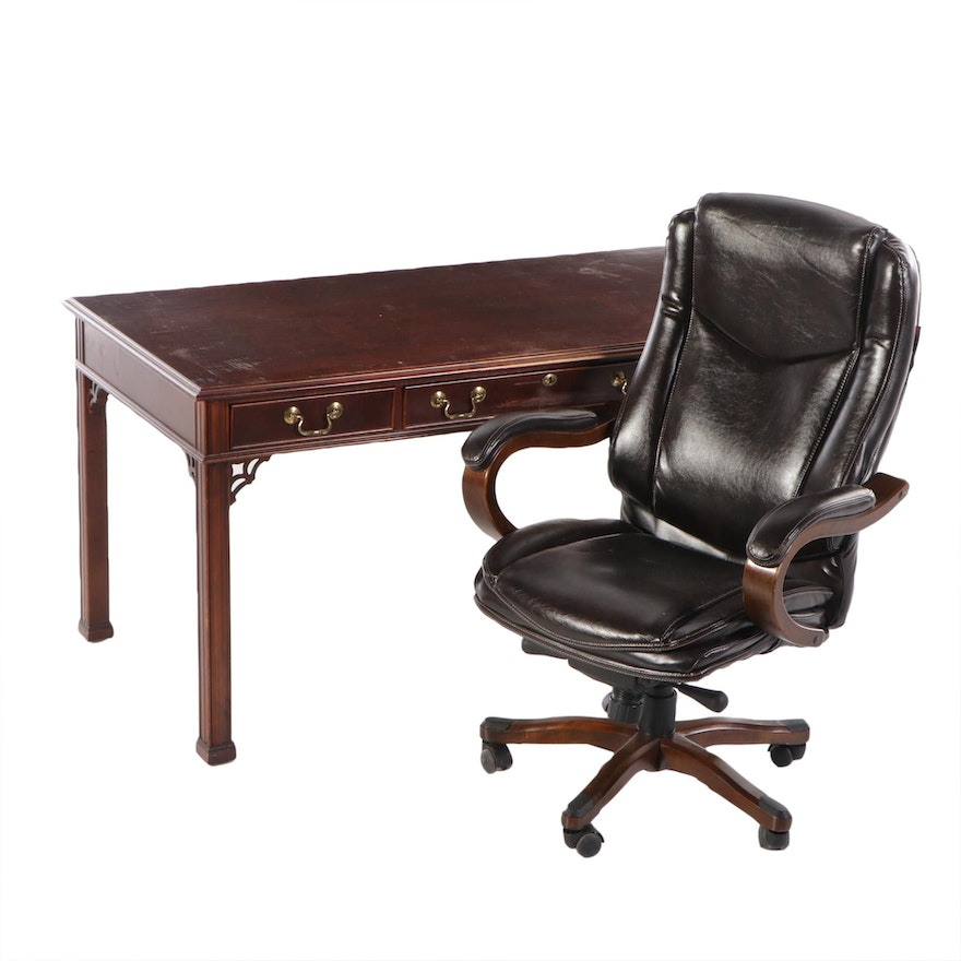 Chippendale Style Mahogany Writing Table and Lane Executive Chair