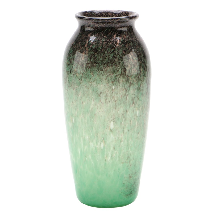 Monart Green, Black, and Aventurine Art Glass Vase, 20th Century