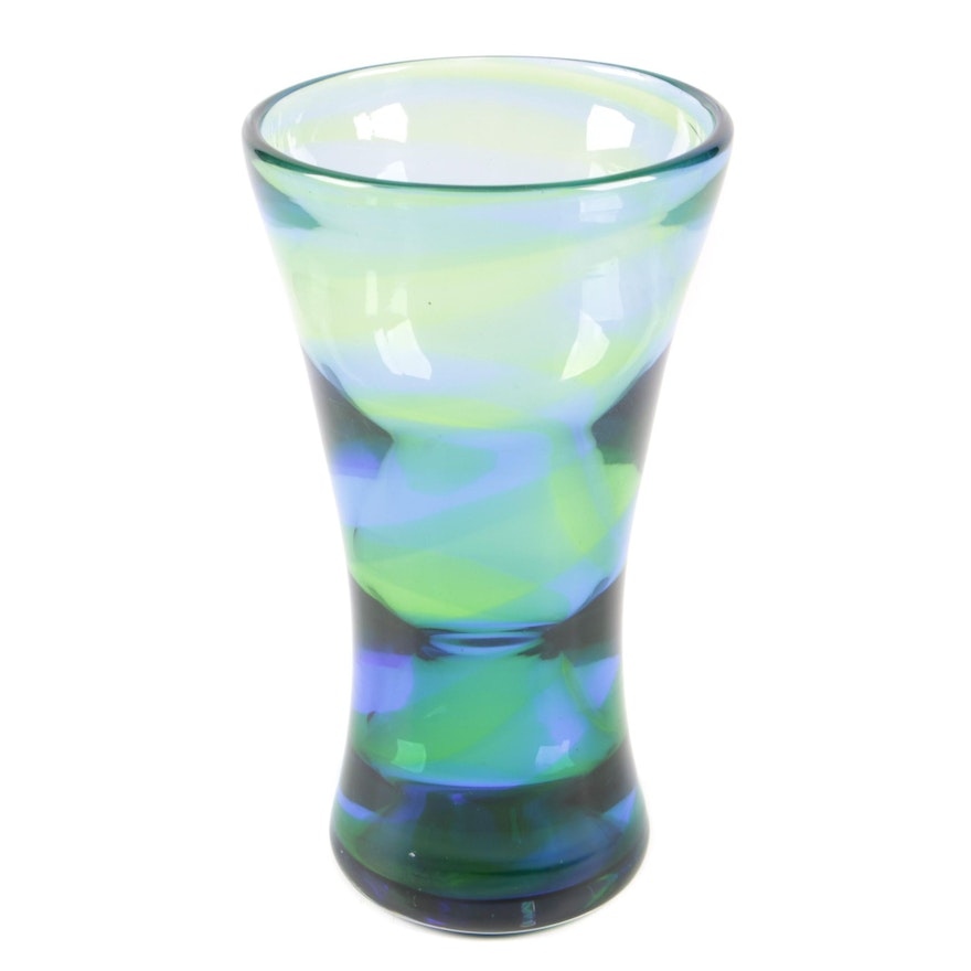Blue and Green Swirl Blown Glass Vase
