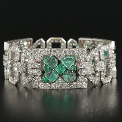 Art Deco Platinum Emerald and 17.17 CTW Diamond Panel Bracelet with Original Box