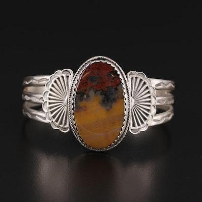 Vintage Etsitty Tsosie Navajo Diné Sterling Jasper Cuff Bracelet