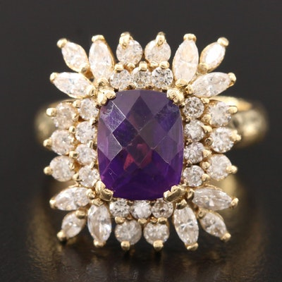 18K Yellow Gold Amethyst and 1.33 CTW Diamond Ring