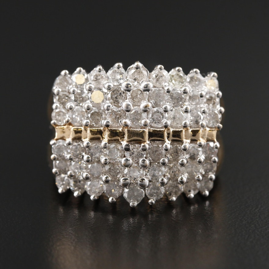 10K Yellow Gold 4.05 CTW Diamond Ring