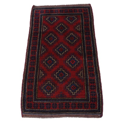 2'10 x 5' Hand-Knotted Afghani Turkoman Rug, Late 20th Century