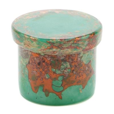 Scottish Mottled Art Glass Covered Jar, 20th Century