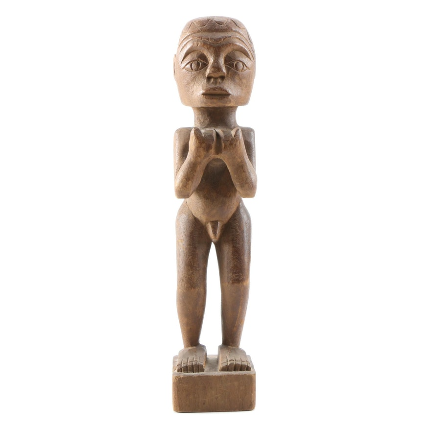 West African Male Figure Wooden Carving