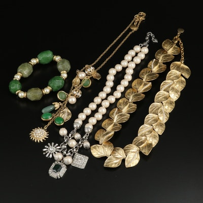 Carolee Lux Quartz, Imitation Pearl and Rhinestone Necklaces and Bracelet