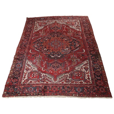9'0 x 12'2 Hand-Knotted Persian Heriz Room Size Rug, 1940s